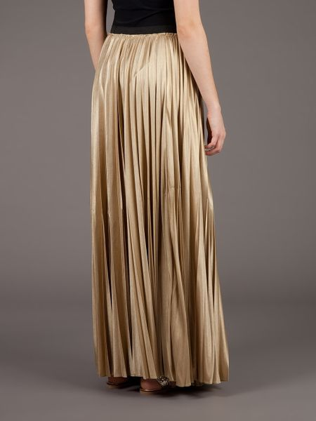 enza costa pleated maxi skirt in gold lyst