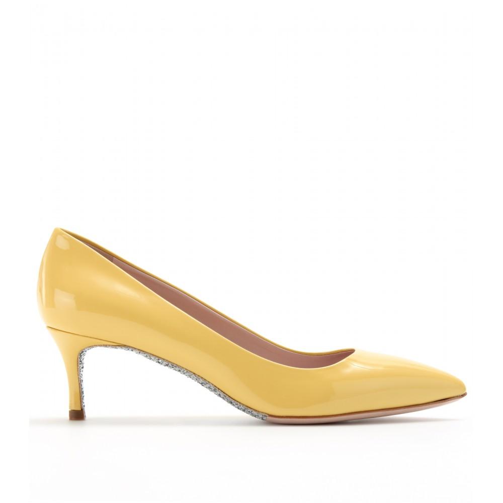 Miu miu Glitter Sole Kitten Heel Pumps in Yellow | Lyst