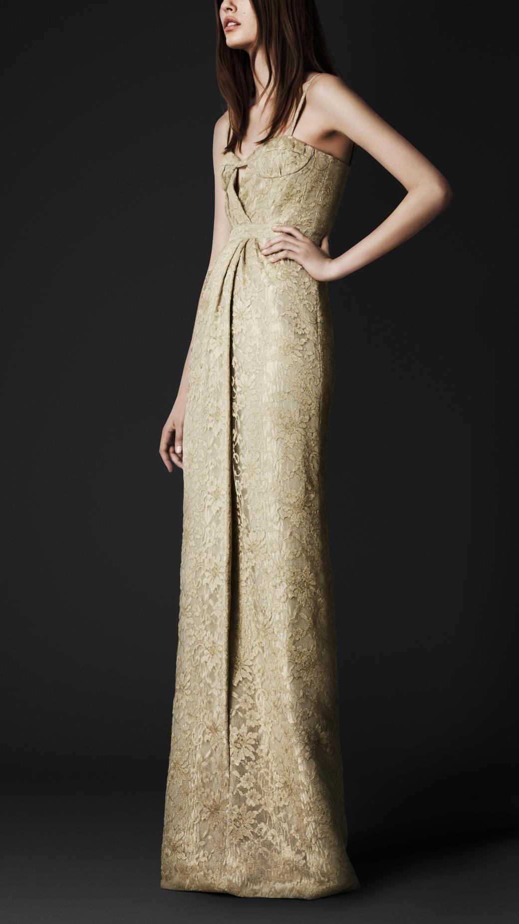 66c6ab76c82a1 Lyst - Burberry Prorsum Floorlength Lace Bustier Dress in Metallic