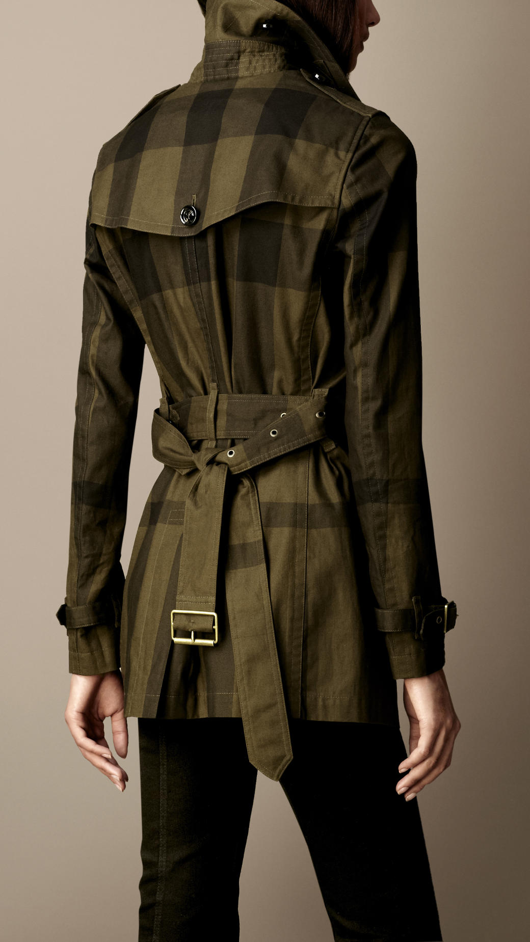 Lyst Burberry Brit Short Cotton Twill Check Trench Coat