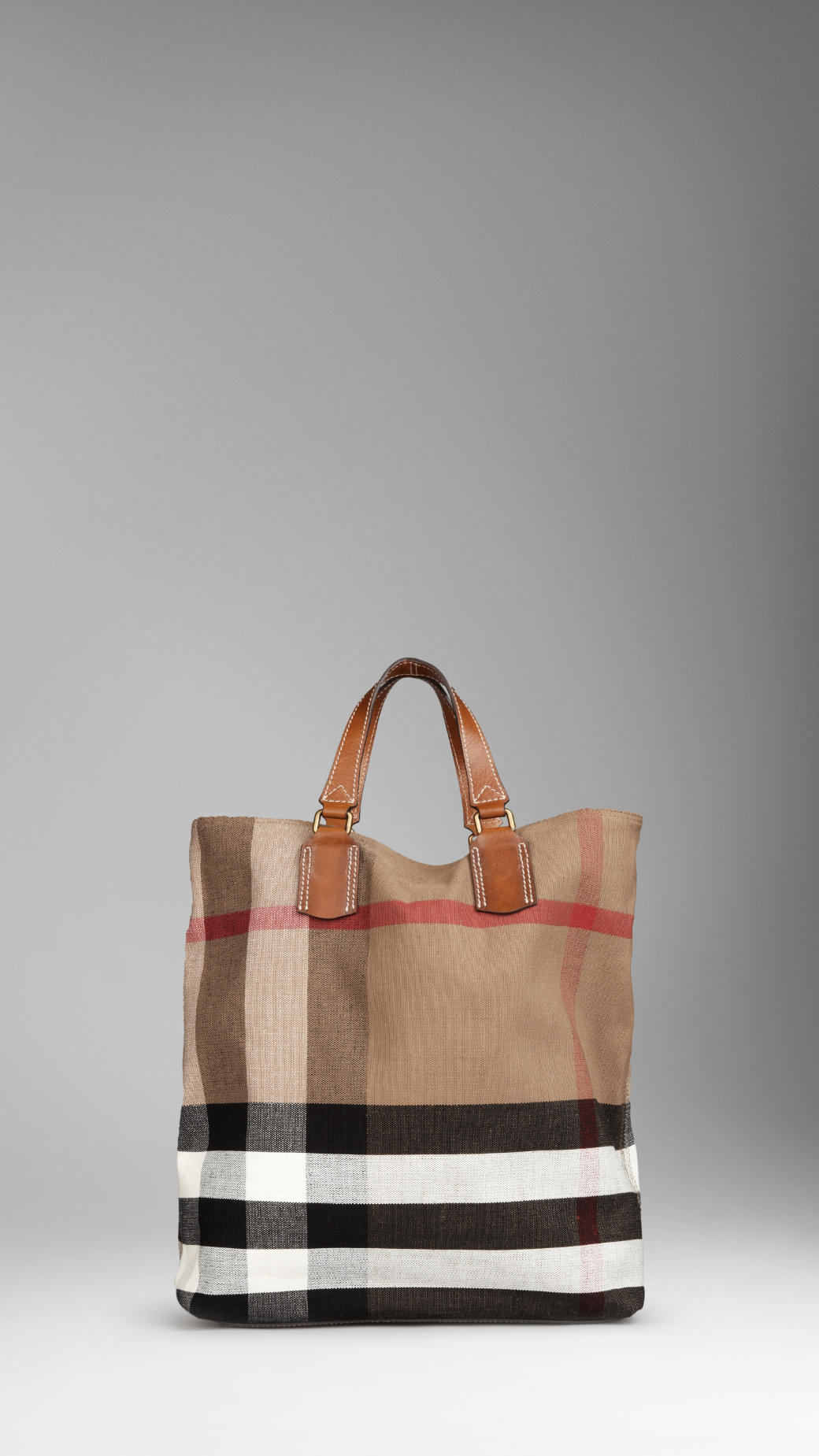 Burberry Large Check Canvas Tote Bag In Brown Lyst
