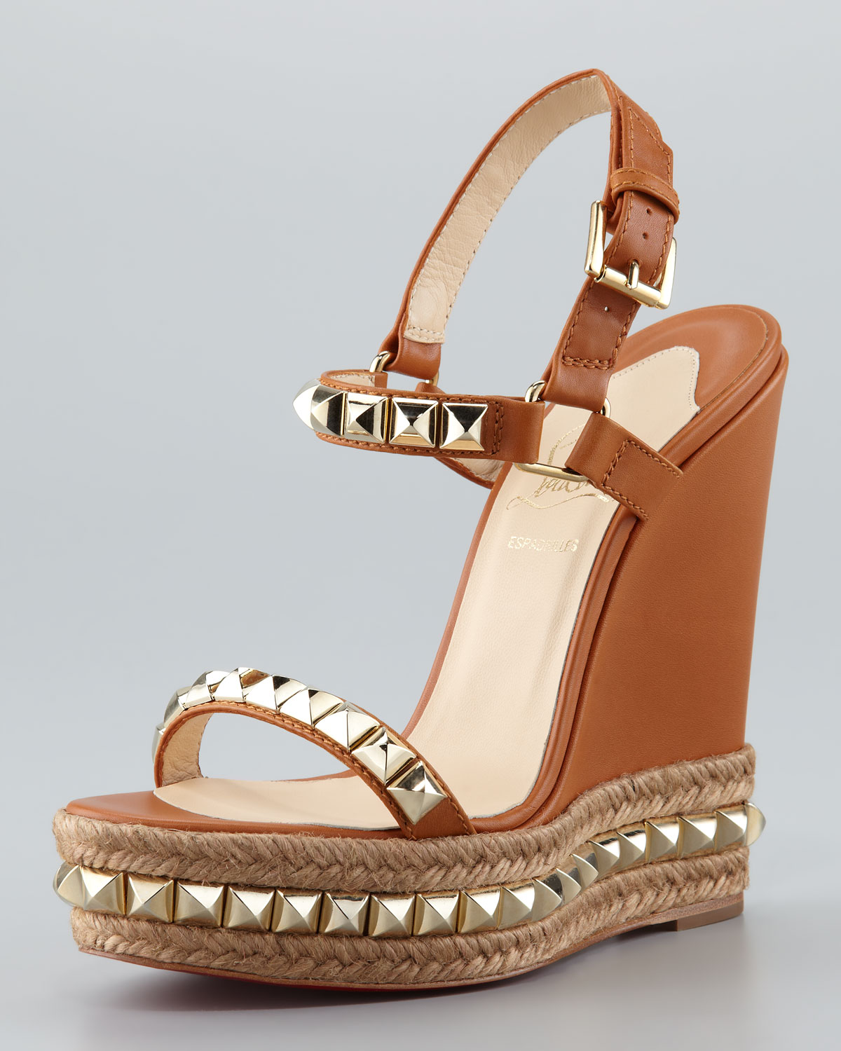 Christian Louboutin Espadrille Wedge In Brown Lyst