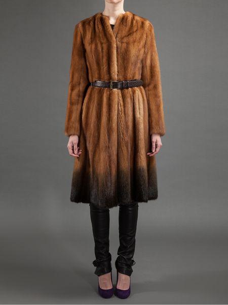 Fendi Belted Mink Fur Coat In Brown Lyst