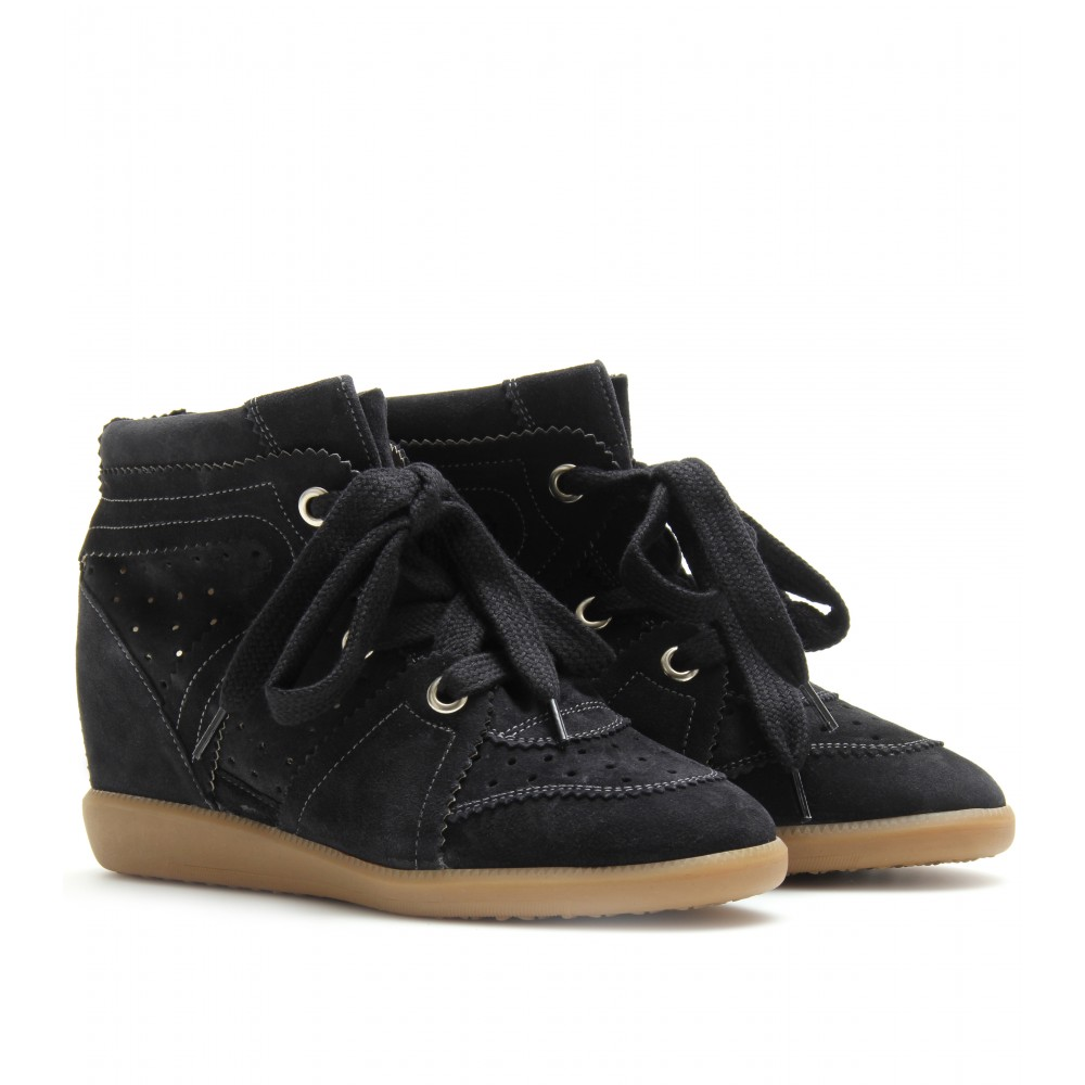 isabel marant bobby wedge suede sneakers in black lyst. Black Bedroom Furniture Sets. Home Design Ideas