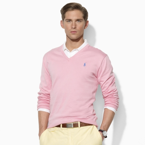 Polo ralph lauren Vneck Sweater in Pink for Men | Lyst