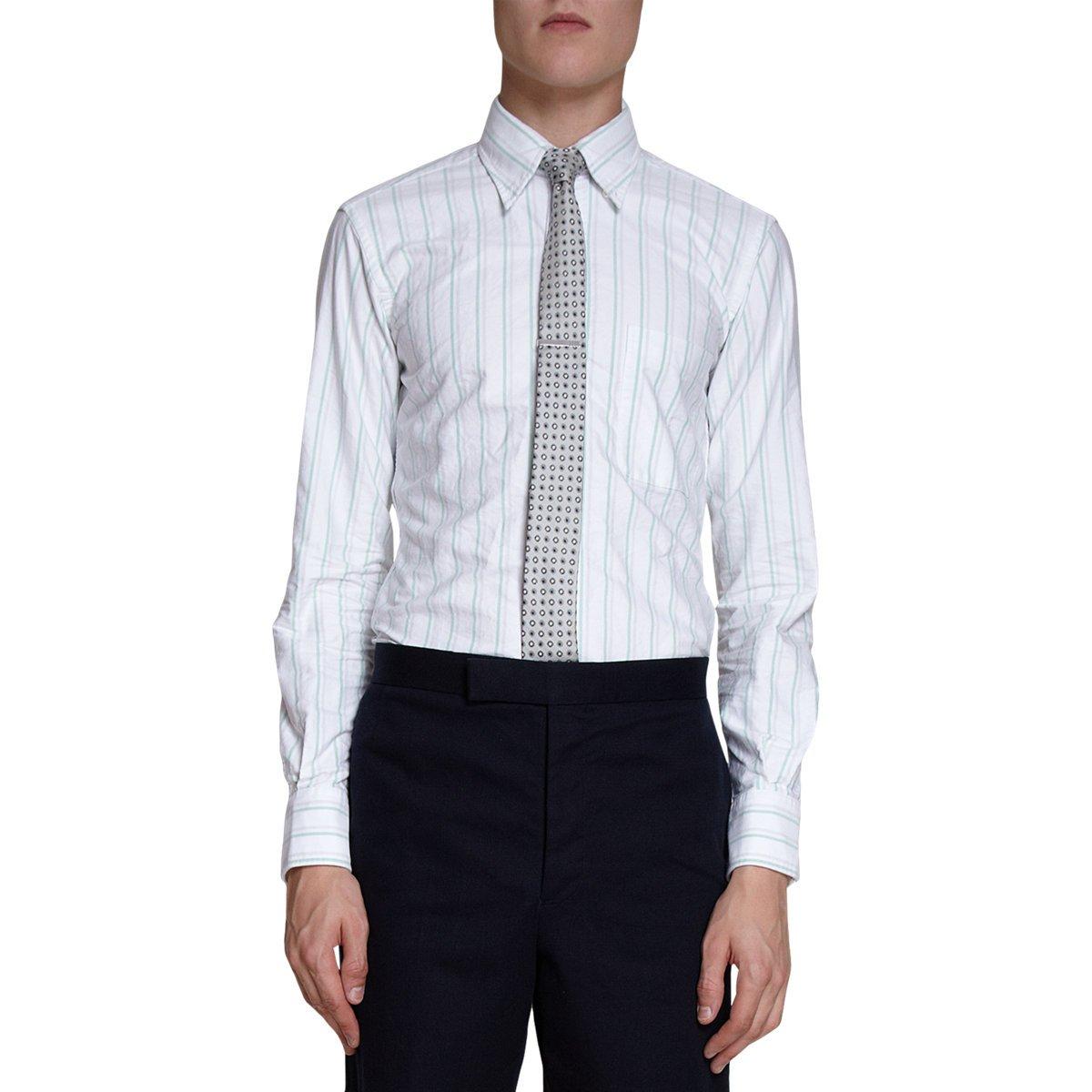 Thom browne oxford stripe dress shirt in white for men lyst for Thom browne white shirt