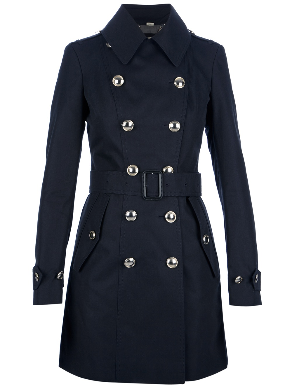 Burberry Double Breasted Trench Coat In Blue Navy Lyst