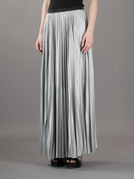 enza costa pleated maxi skirt in silver lyst