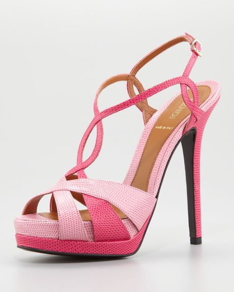 Fendi Twisted T Strap Two Tone Sandal In Pink Fuchsia Lyst