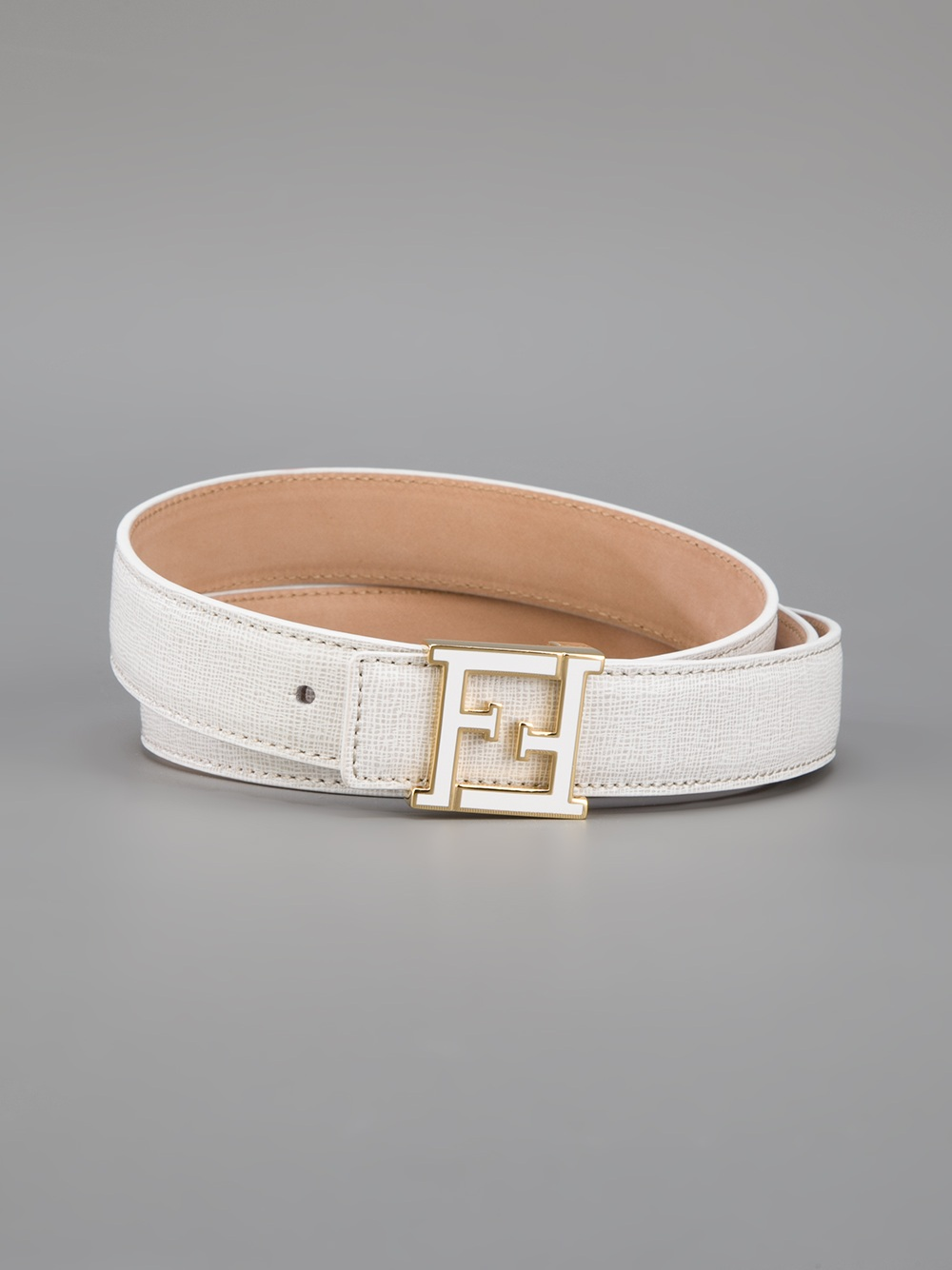fendi logo belt in white lyst