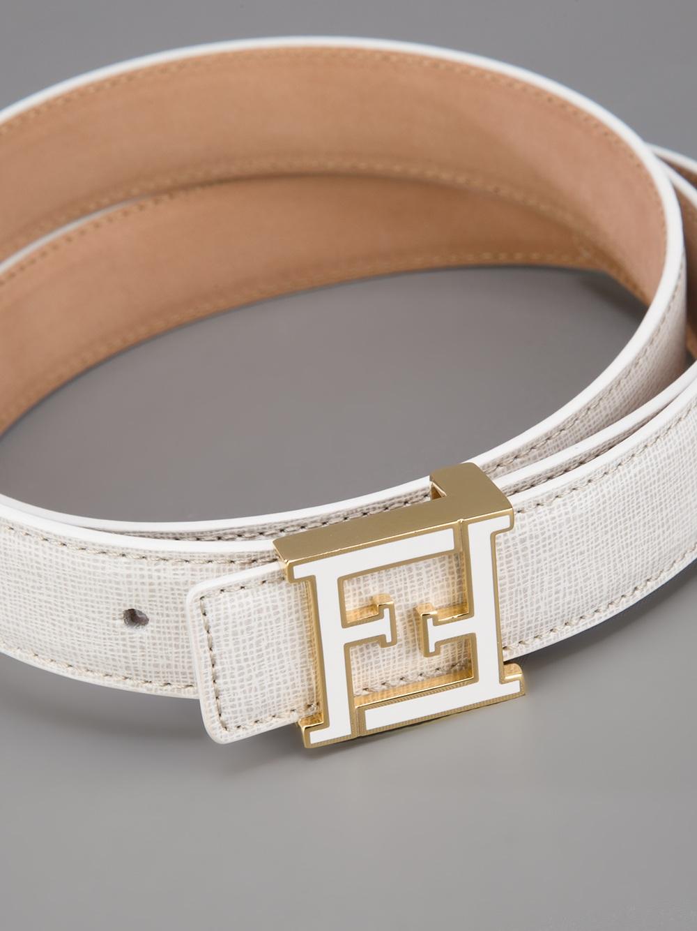 fendi logo belt in white lyst