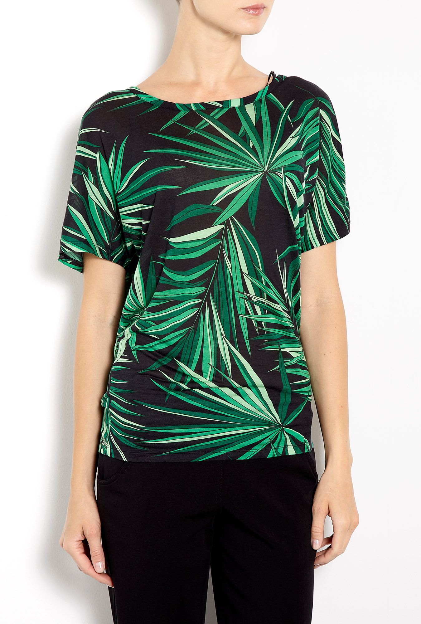 Michael michael kors tropical palm print boxy t shirt in for Michael stars t shirts on sale