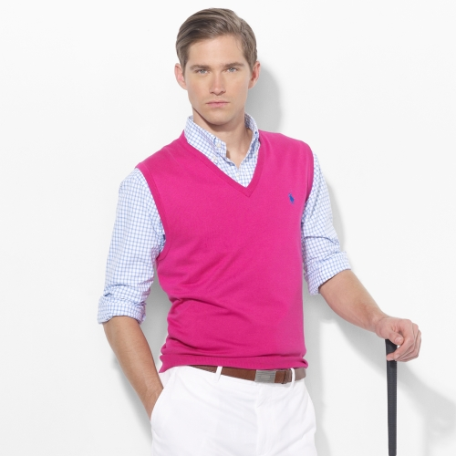 Polo ralph lauren Vneck Sweater Vest in Pink for Men | Lyst