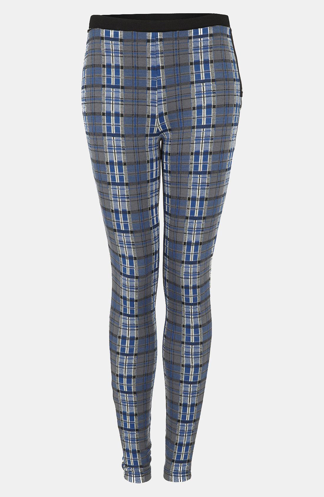 Topshop Plaid Leggings in Blue | Lyst