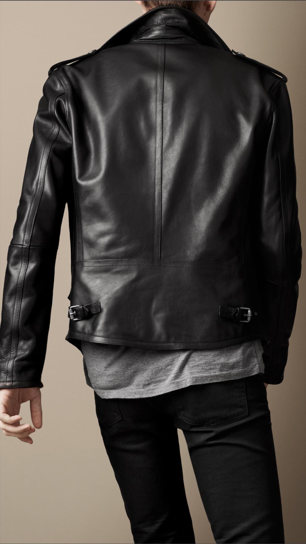 lyst burberry brit leather biker jacket in black for men. Black Bedroom Furniture Sets. Home Design Ideas