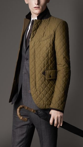 Burberry Waxed Cotton Quilted Jacket In Green For Men