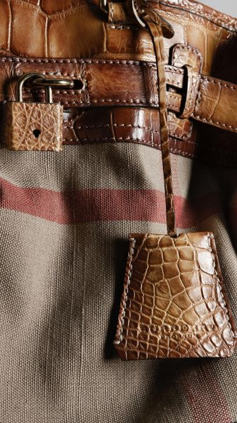 Burberry Bold Stitch Canvas Check Traveller Bag In Brown