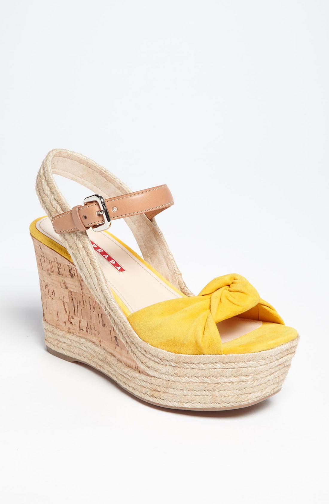 Prada Knot Wedge Sandal In Yellow