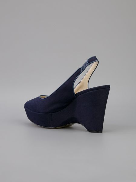 stella mccartney canvas wedge shoe in blue navy lyst