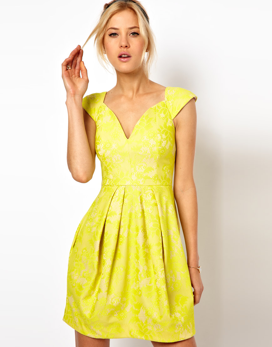 Lyst Asos Lace Skater Dress With Sexy Neck In Yellow