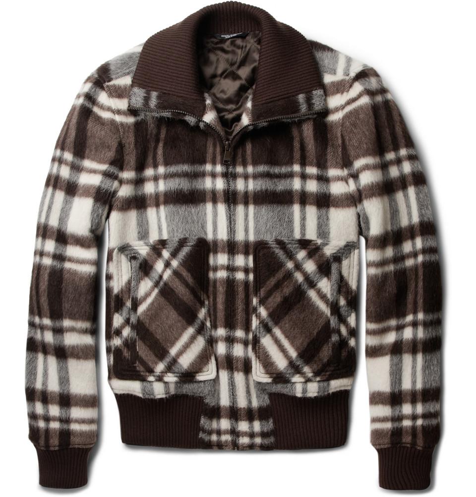 Dolce Amp Gabbana Plaid Wool Blend Bomber Jacket In Black