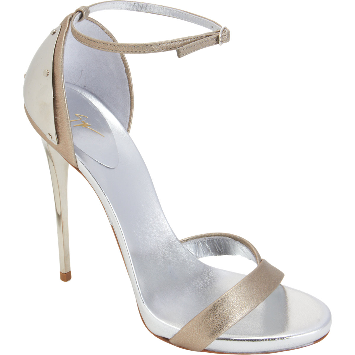 fecf9904272c Plated heel silver sandals by Giuseppe Zanotti in pewter and silver