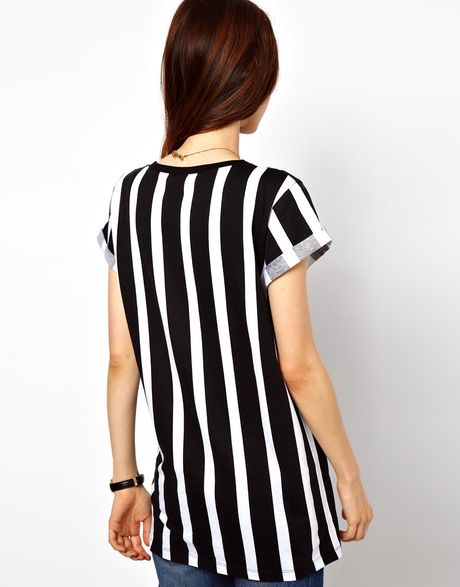 Asos Collection T-Shirt with Vertical Stripe in White ...