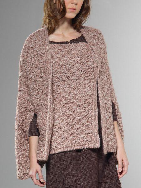 patrizia pepe mantel coat in pink blush rose melange lyst. Black Bedroom Furniture Sets. Home Design Ideas
