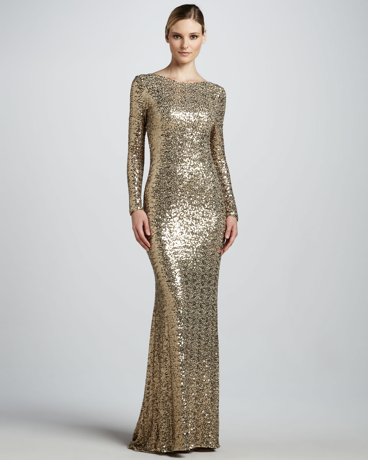 Lyst - Badgley Mischka Sequined Gown with Cowl Back in Metallic