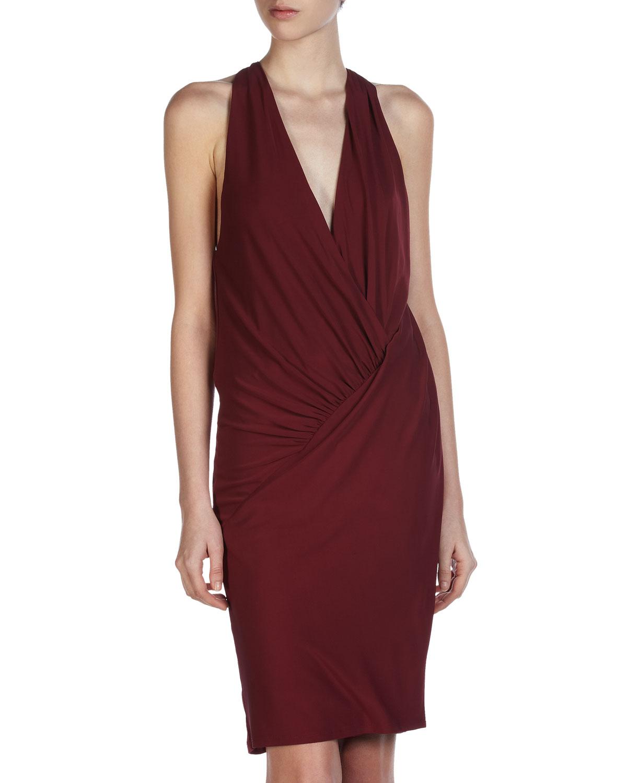Asymmetric Drape Dress: Haute Hippie Asymmetric Drape Dress In Red (bordeaux)