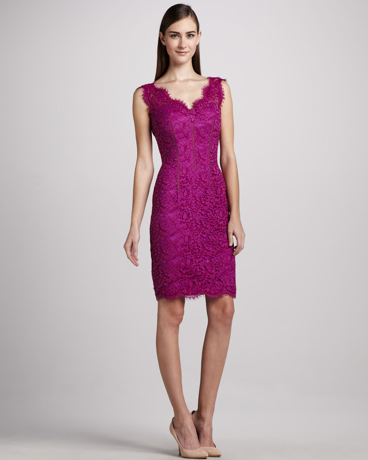 Lyst - Ml monique lhuillier Lace Sheath Dress in Purple