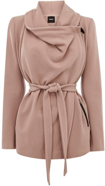 Oasis Biker Drape Coat in Brown (neutral)