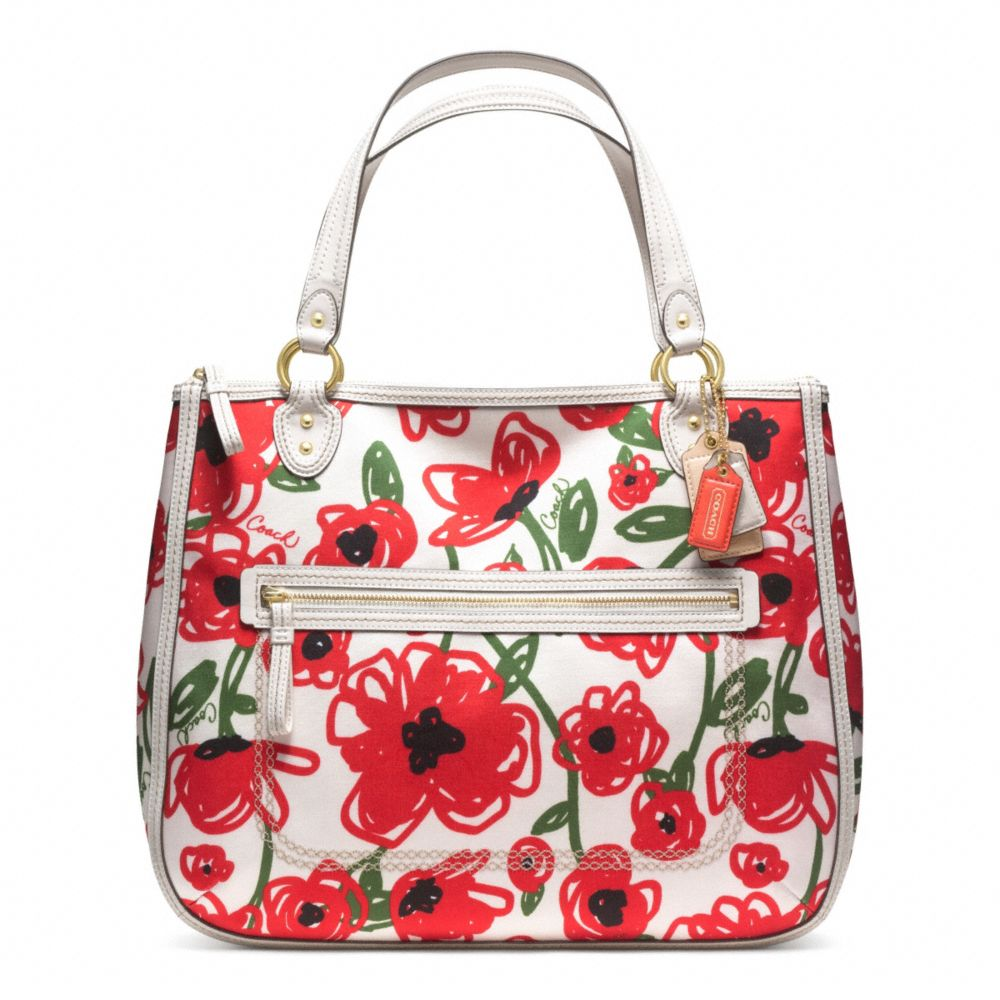 Sweden Coach Poppy Placed Flower Tote 25dcb 3d0d2