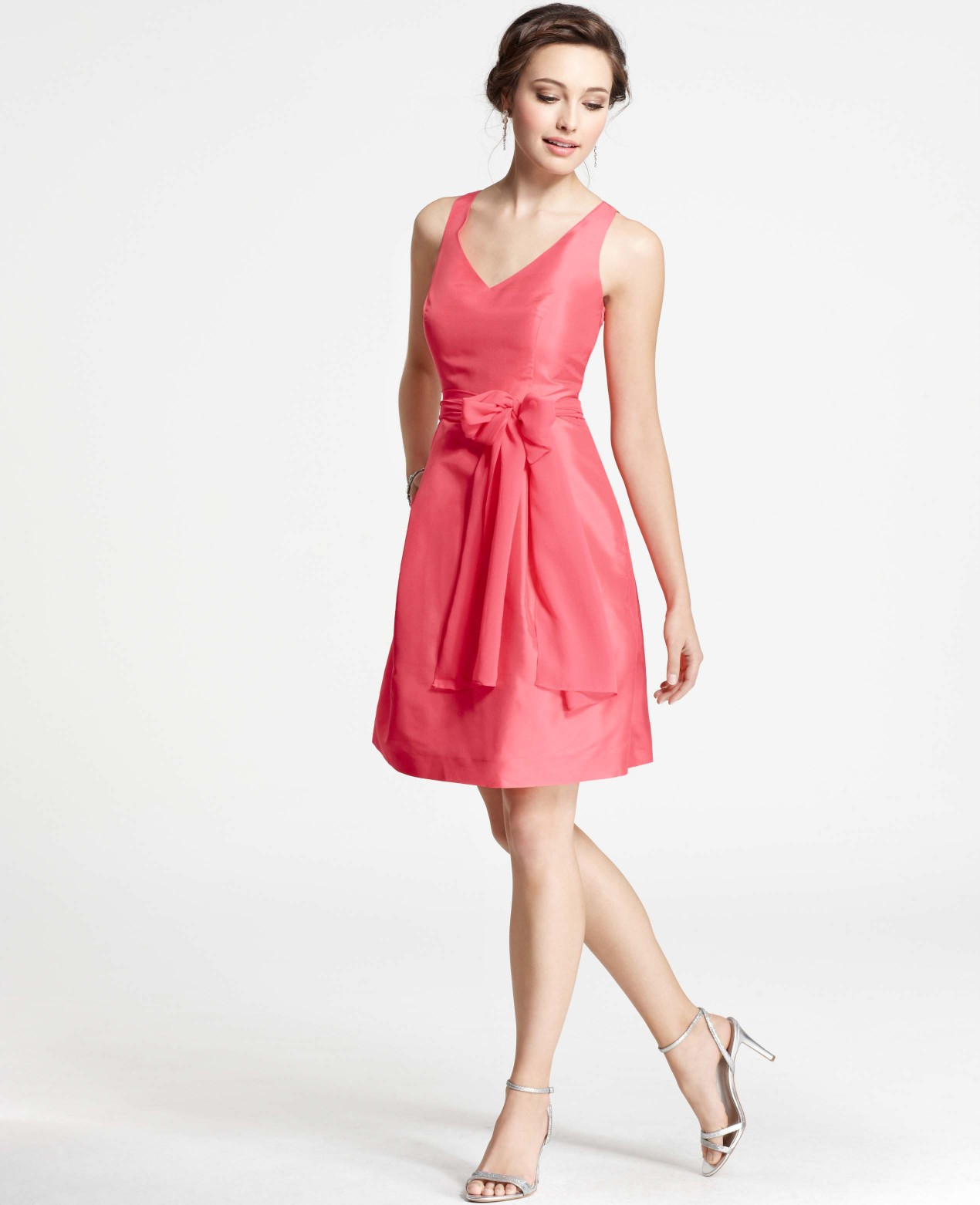 Dupioni silk bridesmaid dresses dress yp ann taylor silk dupioni v neck bridesmaid dress in pink lyst ombrellifo Images
