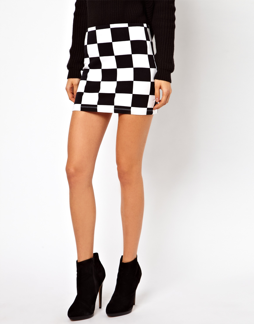 15f6b3776154 Black And White Check Mini Dress