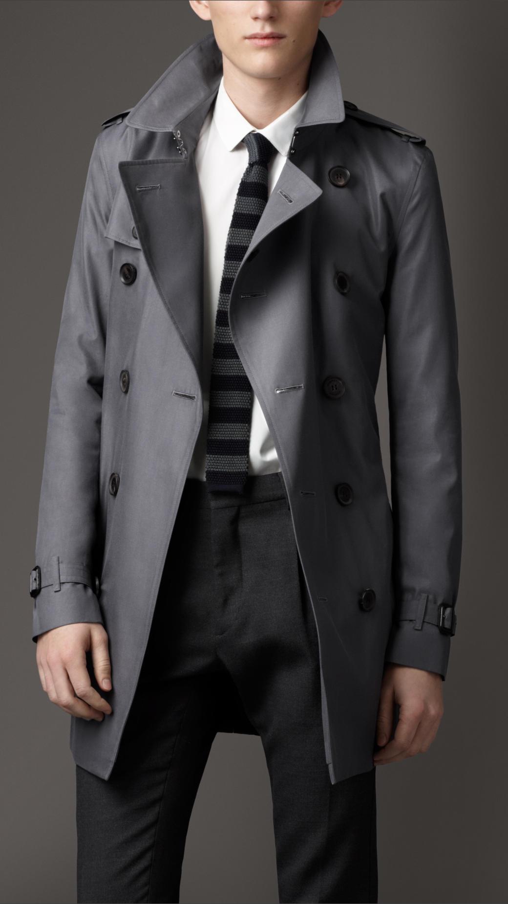 Burberry Mid Length Cotton Gabardine Trench Coat In Gray