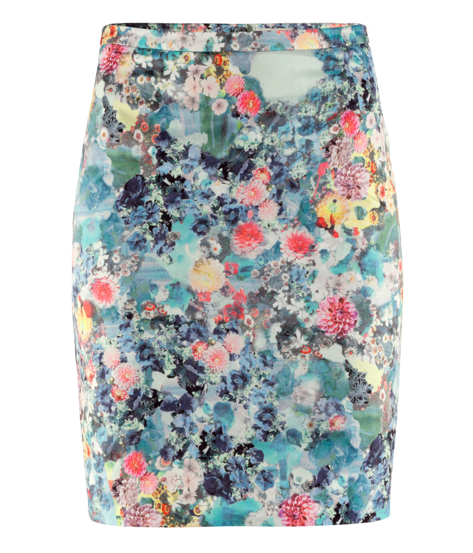 h m pencil skirt in floral lyst