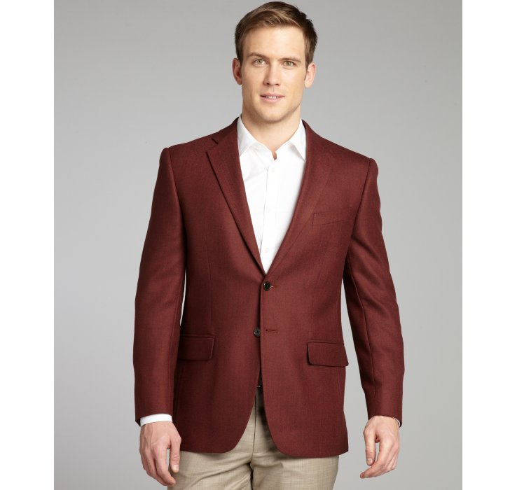 Joseph abboud Burgundy Herringbone Wool Woven Sportcoat in Red for ...