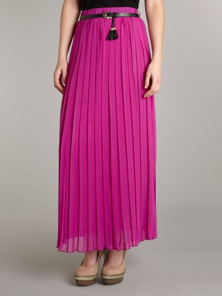 maggie and me pleated maxi skirt in pink lyst