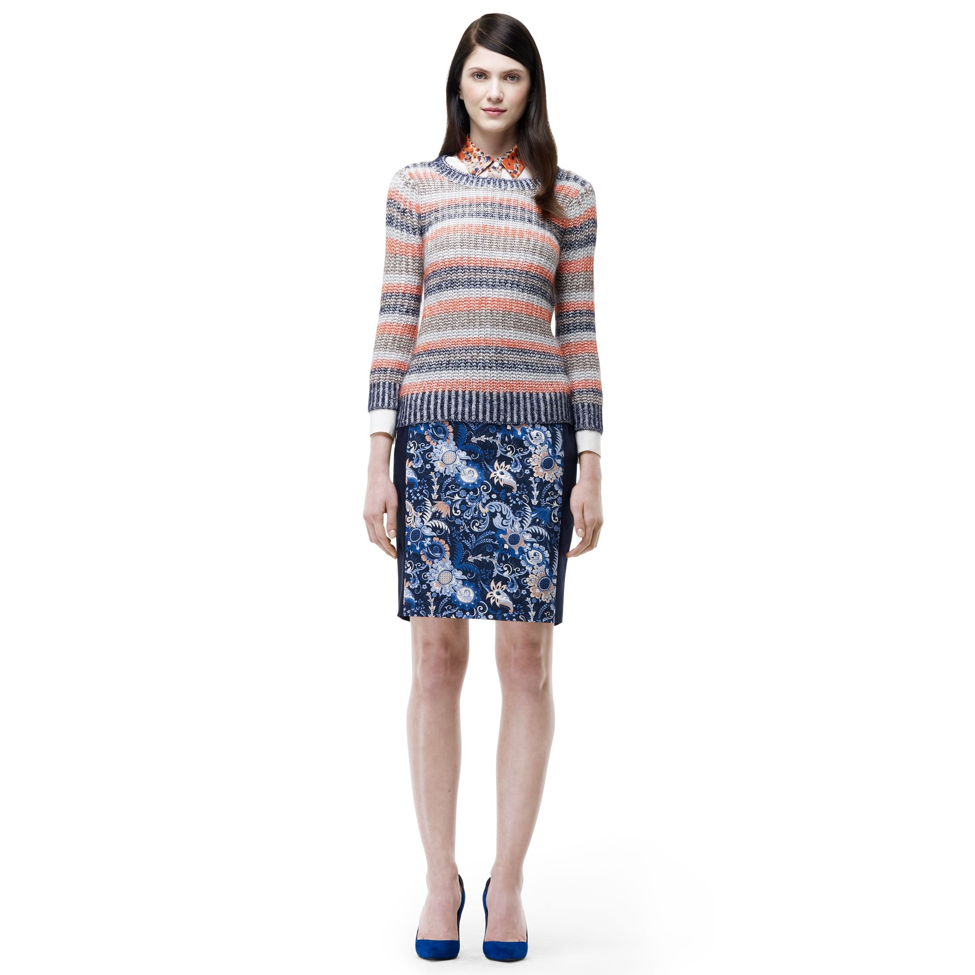 club monaco melyssa pencil skirt in blue strawberry fields w navy lyst