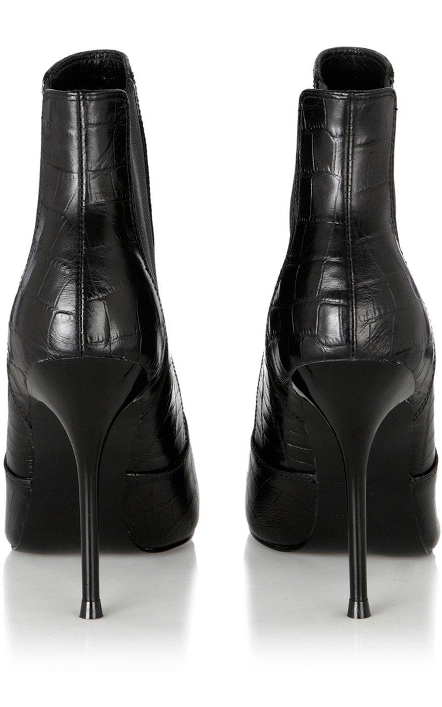 748ac304aadd8 Karen Millen Croc Ankle Boot in Black - Lyst