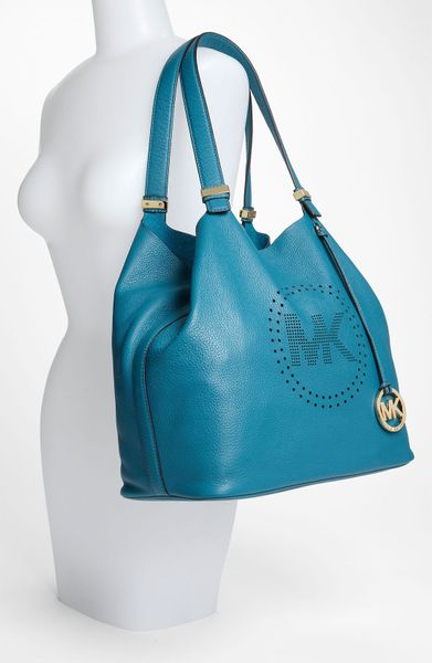 Michael By Michael Kors Perforated Mk Large Leather Tote in Blue (turquoise) - Lyst