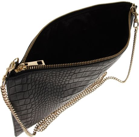 Whistles Rivington Chain Leather Clutch In Black Lyst