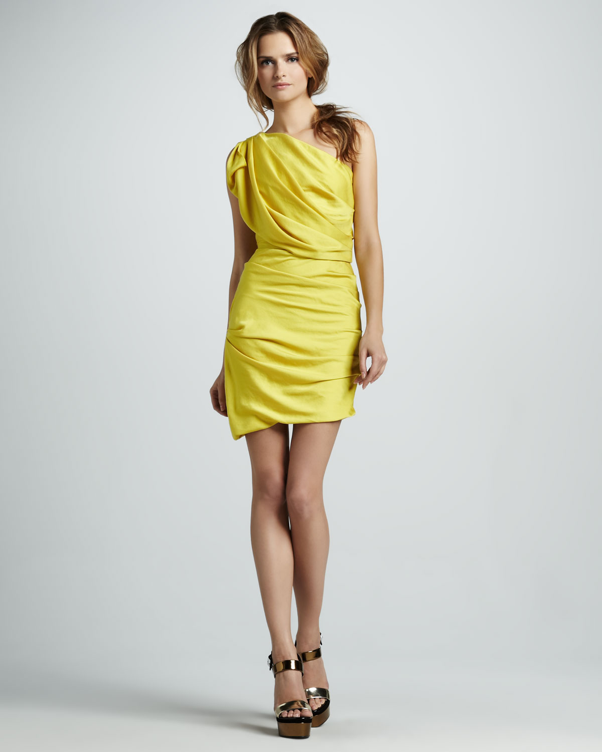 5a70e29e3f78 Lyst - Halston Gathered Oneshoulder Dress in Yellow