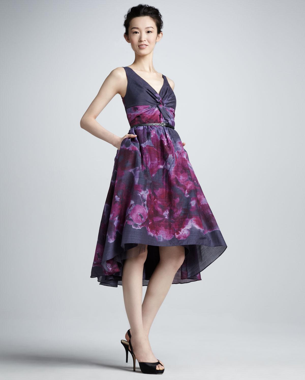 Lyst - Lela Rose Nm Target Watercolor Highlow Dress in Purple