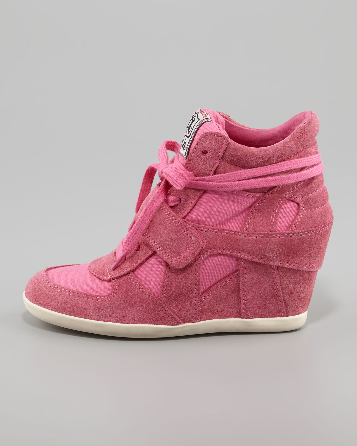 Lyst Ash Bowie Suede Canvas Wedge Sneaker In Pink