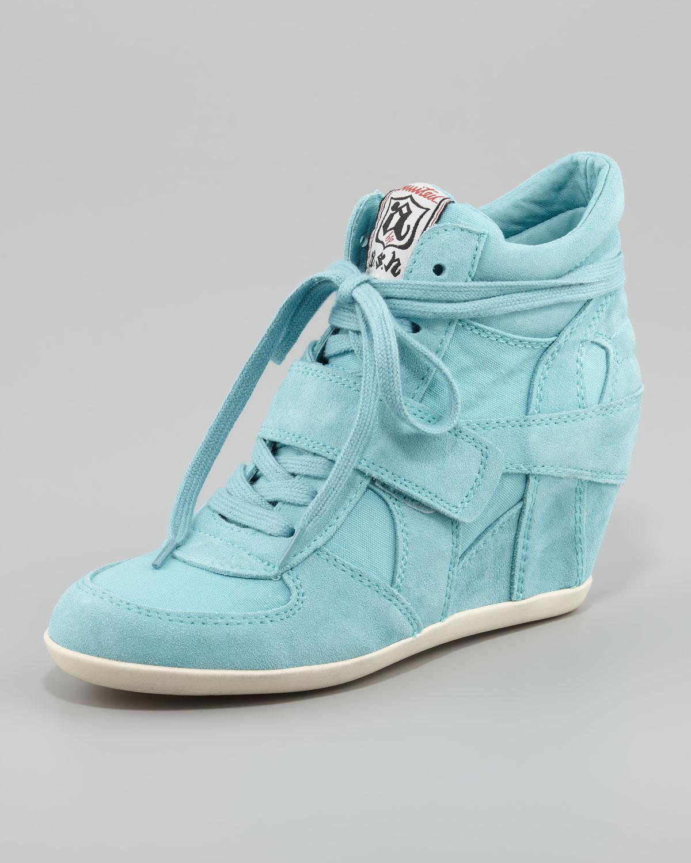 Blue Canvas Wedge Shoes