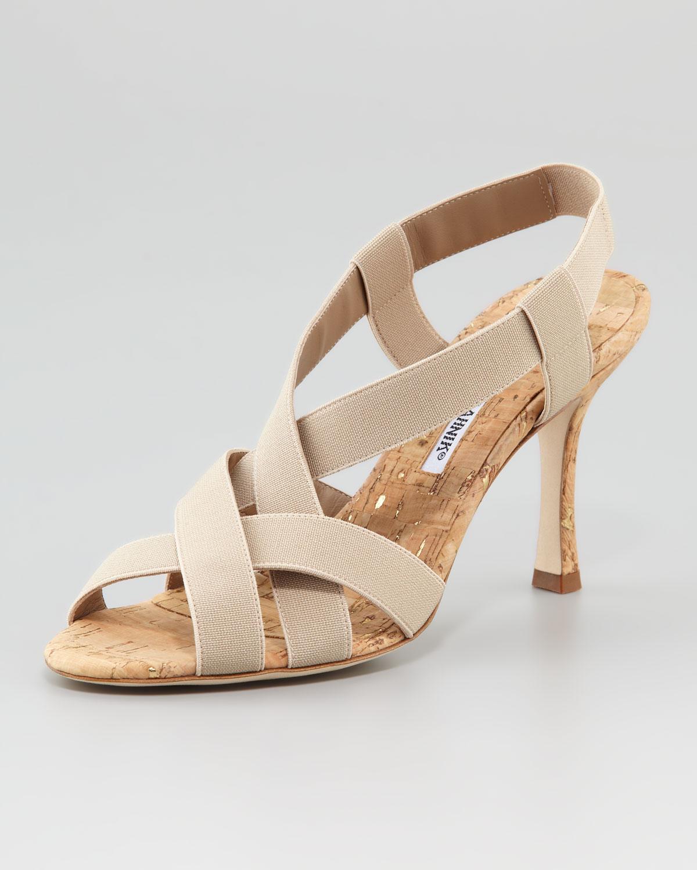 Manolo Blahnik Cork Ankle-Strap Sandals geniue stockist outlet manchester great sale 04NJ3C3