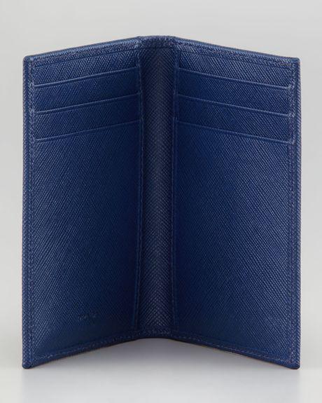 db3222b61e2d38 Prada Saffiano Bicolor Bifold Wallet in Blue for Men (blu/navy) | Lyst