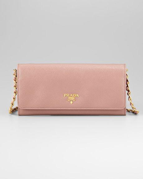 Prada Leather Wallet On A Chain In Beige Orange Lyst